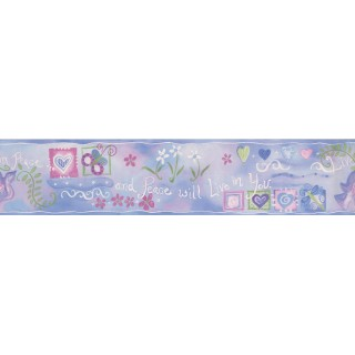 5 in x 15 ft Prepasted Wallpaper Borders - Blue Live in Peace Wall Paper Border