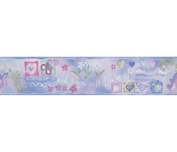 Clearance: Blue Live in Peace Wallpaper Border