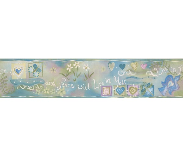 Prepasted Wallpaper Borders - Green Live in Peace Wall Paper Border