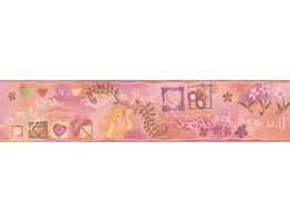 Prepasted Wallpaper Borders - Pink Live in Peace Wall Paper Border