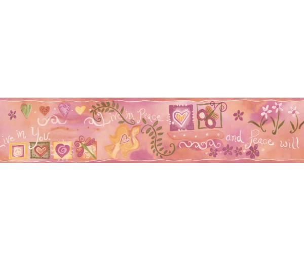 Kids Wallpaper Borders: Pink Live in Peace Wallpaper Border