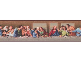 Prepasted Wallpaper Borders - Brown Last Supper Wall Paper Border