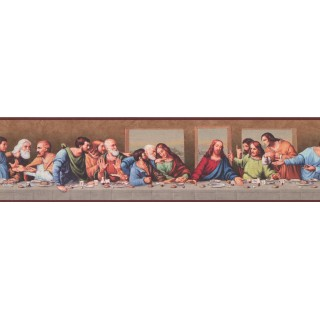 6 1/4 in x 15 ft Prepasted Wallpaper Borders - Brown Last Supper Wall Paper Border
