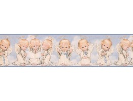 Prepasted Wallpaper Borders - White Baby Angels Wall Paper Border