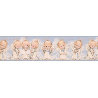 6 in x 15 ft Prepasted Wallpaper Borders - White Baby Angels Wall Paper Border