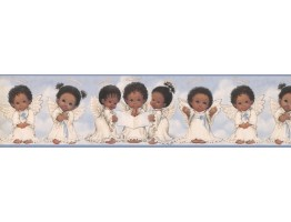 Prepasted Wallpaper Borders - Blue Cute Angels II Wall Paper Border