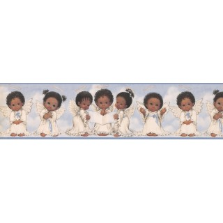 6 in x 15 ft Prepasted Wallpaper Borders - Blue Cute Angels II Wall Paper Border
