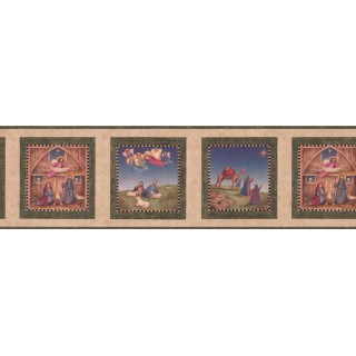 6 3/4 in x 15 ft Prepasted Wallpaper Borders - Green Nativity Wall Paper Border