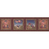 Faith and Angels Burgundy Nativity Wallpaper Border York Wallcoverings