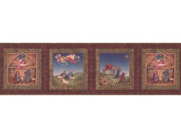 Prepasted Wallpaper Borders - Burgundy Nativity Wall Paper Border