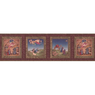 6 3/4 in x 15 ft Prepasted Wallpaper Borders - Burgundy Nativity Wall Paper Border