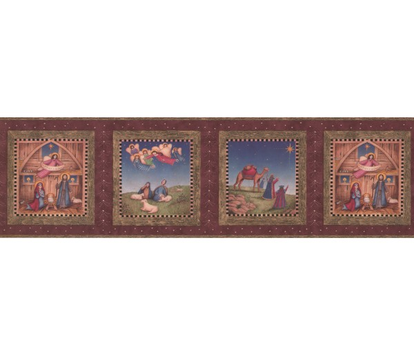 Faith and Angels Wallpaper Borders: Burgundy Nativity Wallpaper Border