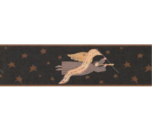 Gold Brown Stars Wooden Angels Wallpaper Border