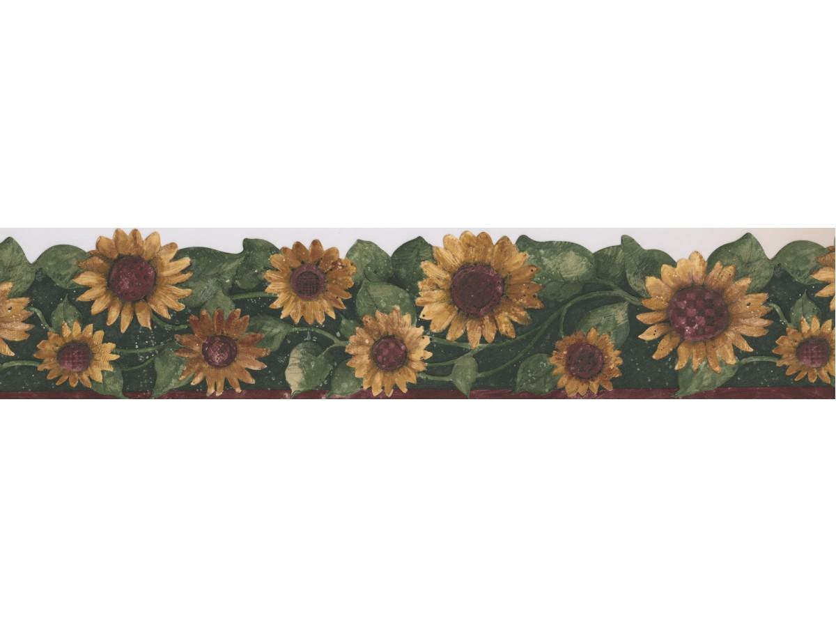 Green Leaf Sunflower Wallpaper Border