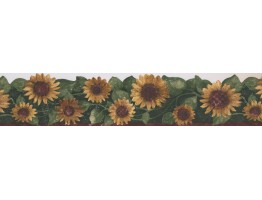 Prepasted Wallpaper Borders - Green Leaf Sunflower Wall Paper Border