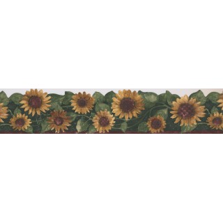 5 in x 15 ft Prepasted Wallpaper Borders - Green Leaf Sunflower Wall Paper Border