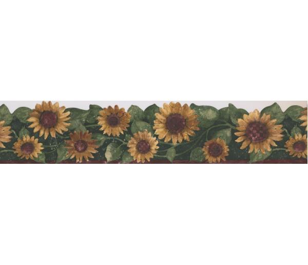 Sunflower Wallpaper Borders: Green Leaf Sunflower Wallpaper Border