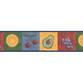 6 in x 15 ft Prepasted Wallpaper Borders - Blue Fruits Wall Paper Border