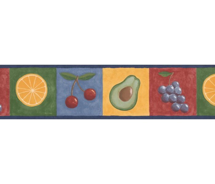 Garden Wallpaper Borders: Blue Fruits Wallpaper Border