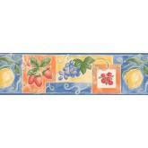 Clearance: Blue Fruit Wallpaper Border