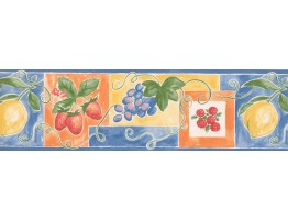 Prepasted Wallpaper Borders - Blue Fruit Wall Paper Border