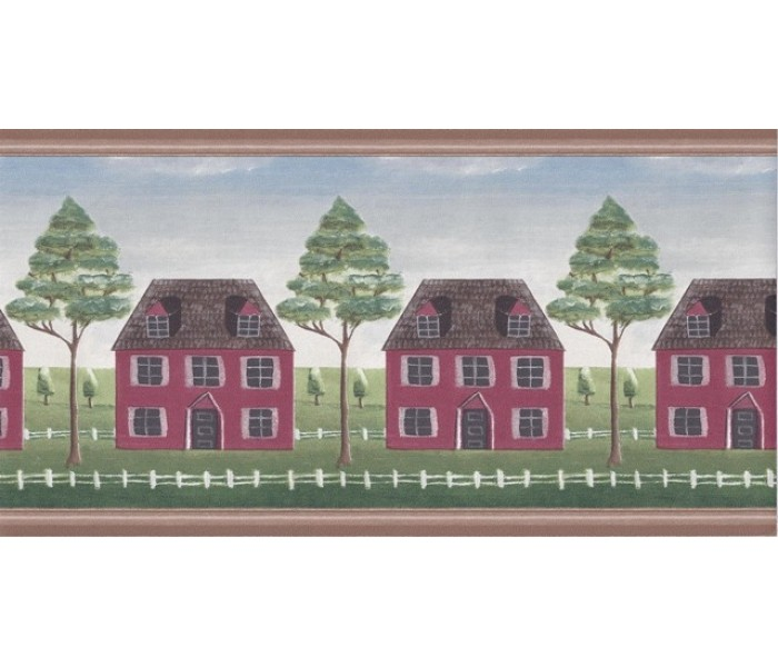 Clearance: Wooden Country House Wallpaper Border