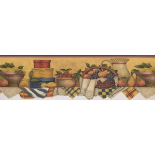 6 2/5 in x 15 ft Prepasted Wallpaper Borders - White Red Yellow Fruit Baskets Wall Paper Border