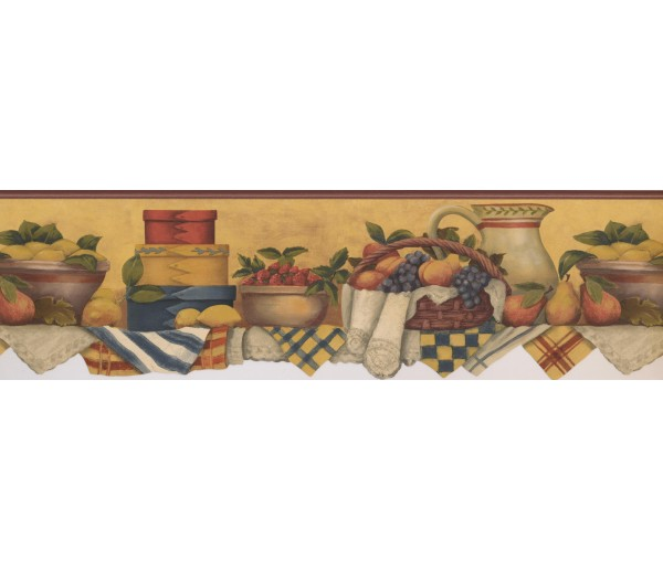 Kitchen Wallpaper Borders: White Red Yellow Fruit Baskets Wallpaper Border