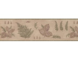 7 in x 15 ft Prepasted Wallpaper Borders - Green Botanical Leaves Wall Paper Border