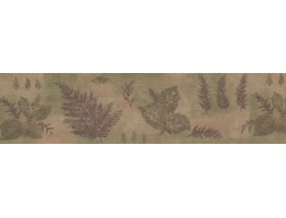 Prepasted Wallpaper Borders - Olive Green Purple Tree Leaves Wall Paper Border