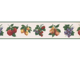 Prepasted Wallpaper Borders - Green White Fruit Wall Paper Border
