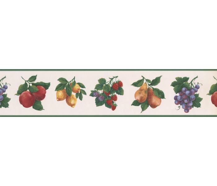 Garden Wallpaper Borders: Green White Fruit Wallpaper Border