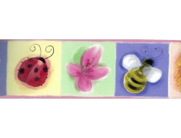 Prepasted Wallpaper Borders - Pink Kids Bee Butterfly Floral Wall Paper Border