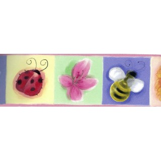 7 in x 15 ft Prepasted Wallpaper Borders - Pink Kids Bee Butterfly Floral Wall Paper Border