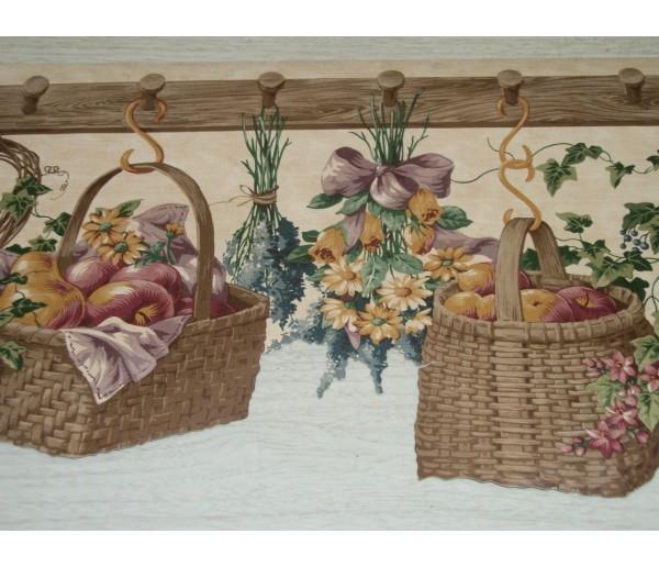 Lodge Wallpaper Borders: Light Grey Hanging Floral Baskets Wallpaper Border