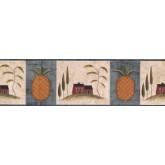 Lodge Blue Fruit Pineapple Wallpaper Border York Wallcoverings