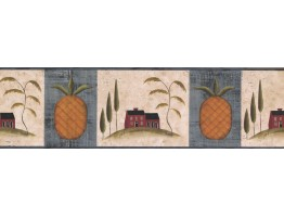 Prepasted Wallpaper Borders - Blue Fruit Pineapple Wall Paper Border