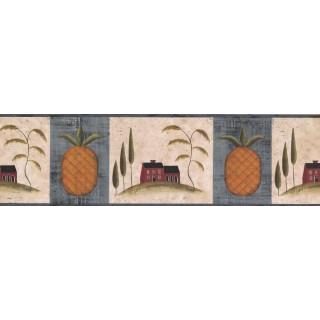 6 3/4 in x 15 ft Prepasted Wallpaper Borders - Blue Fruit Pineapple Wall Paper Border