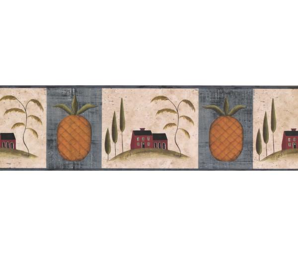 Lodge Blue Fruit Pineapple Wallpaper Border