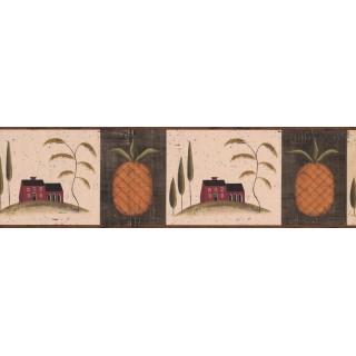 6 3/4 in x 15 ft Prepasted Wallpaper Borders - Brown Fruit Pineapple Wall Paper Border