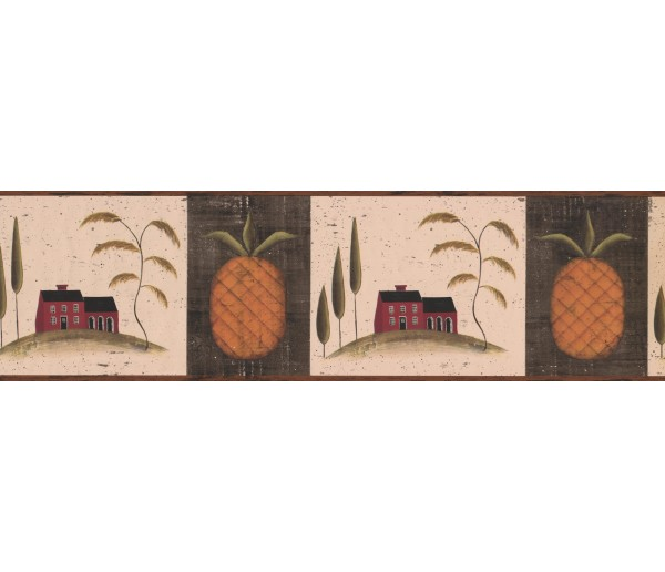 Country Wallpaper Borders: Brown Fruit Pineapple Wallpaper Border