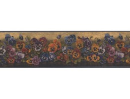 Prepasted Wallpaper Borders - Yellow Floral Pansies Wall Paper Border