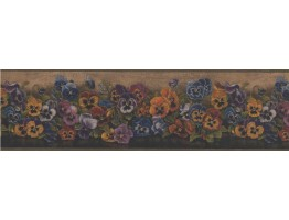 Prepasted Wallpaper Borders - Brown Floral Pansies Wall Paper Border