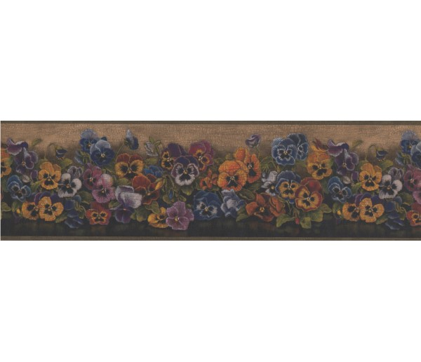 Floral Borders Brown Floral Pansies Wallpaper Border York Wallcoverings