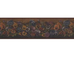 6 3/4 in x 15 ft Prepasted Wallpaper Borders - Rust Floral Pansies Wall Paper Border