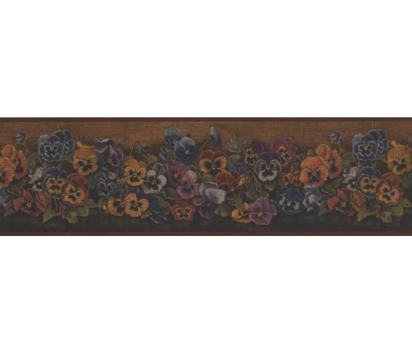 Floral Borders Rust Floral Pansies Wallpaper Border