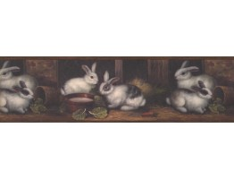 Prepasted Wallpaper Borders - Brown Country Rabbits Wall Paper Border