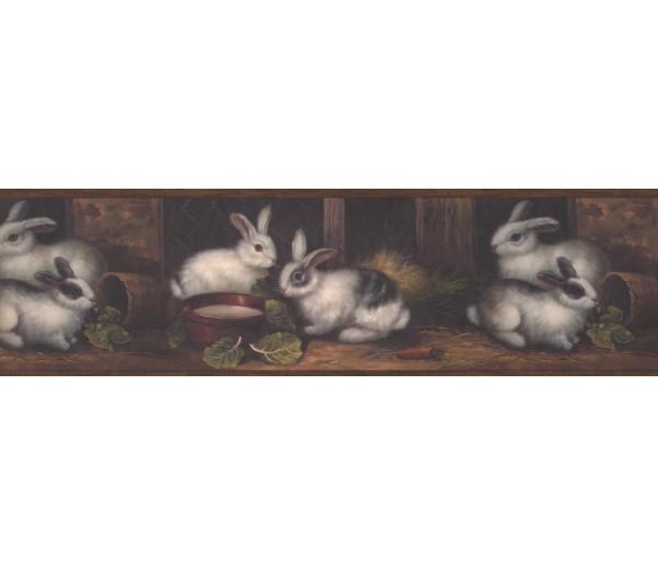 Rabbits Wallpaper Borders: Brown Country Rabbits Wallpaper Border