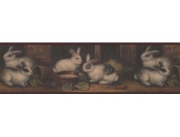 Prepasted Wallpaper Borders - Burgundy Country Rabbits Wall Paper Border