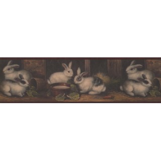 6 3/4 in x 15 ft Prepasted Wallpaper Borders - Burgundy Country Rabbits Wall Paper Border